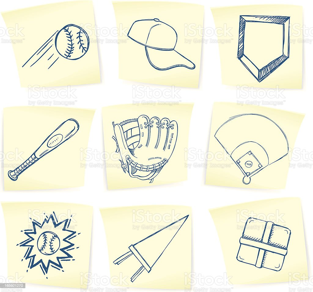 Baseball Doodles on Sticky Notes royalty-free stock vector art