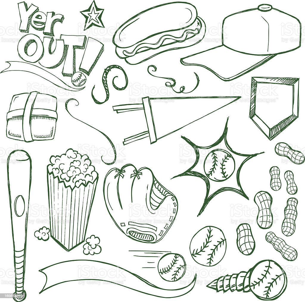 Baseball Doodles vector art illustration