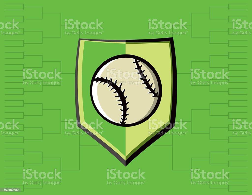 Baseball Emblem and Tournament Background vector art illustration