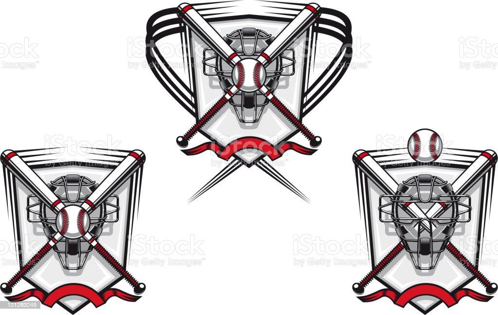 Baseball emblems and mascots royalty-free stock vector art