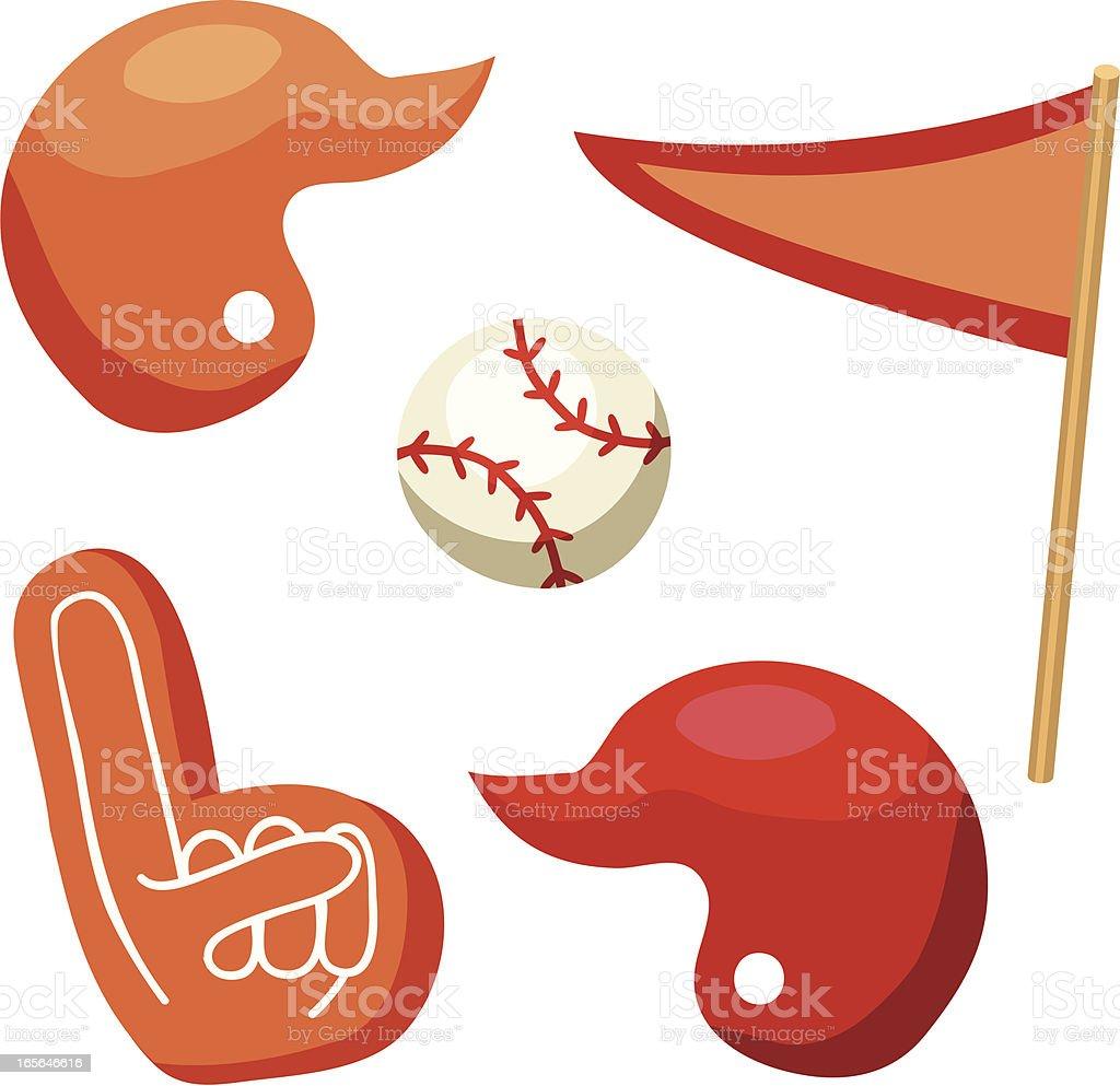 Baseball Equipment: ball, helmet, pennant, foam finger royalty-free stock vector art