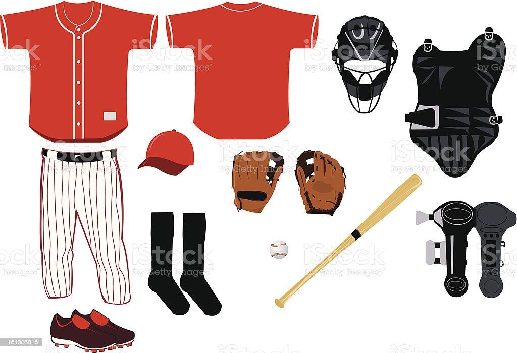 Baseball Equipment vector art illustration