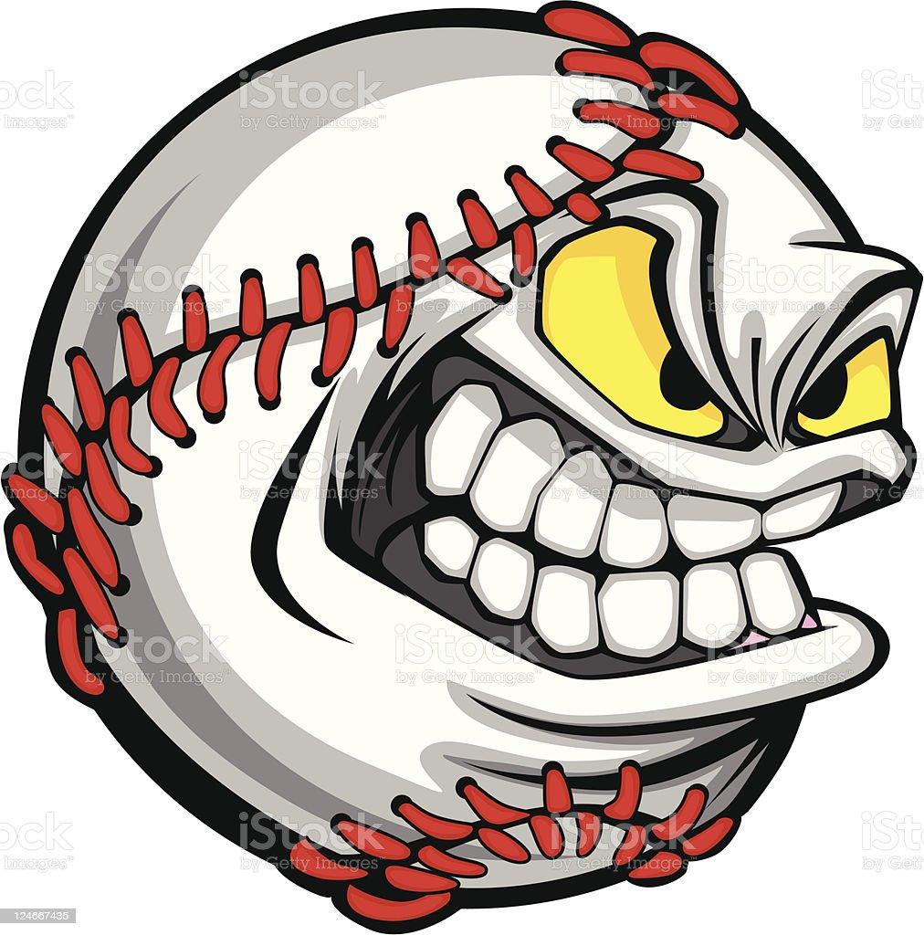 Baseball Face Cartoon Ball Vector Image royalty-free stock vector art