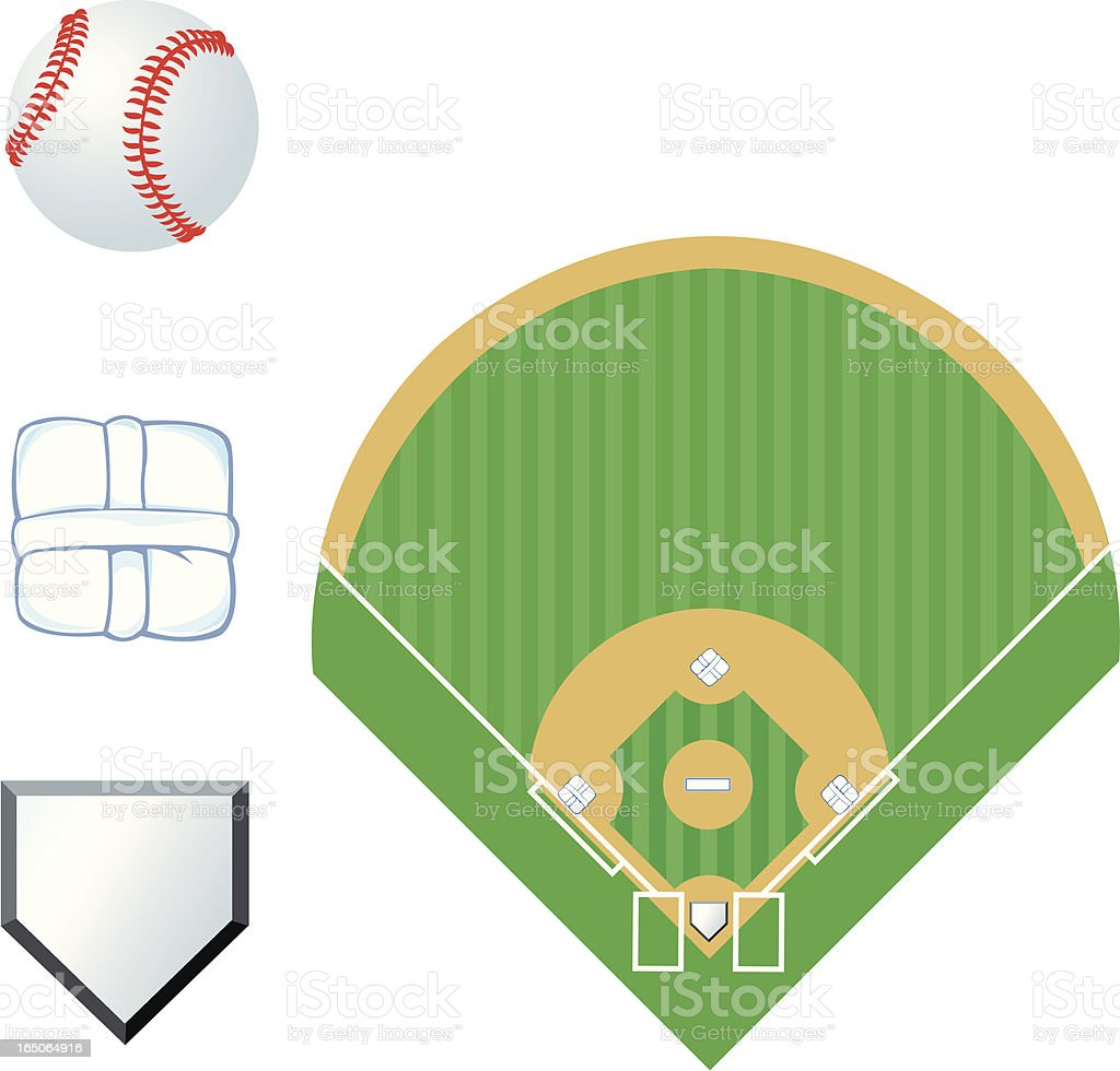 Baseball Field and Home Plate royalty-free stock vector art