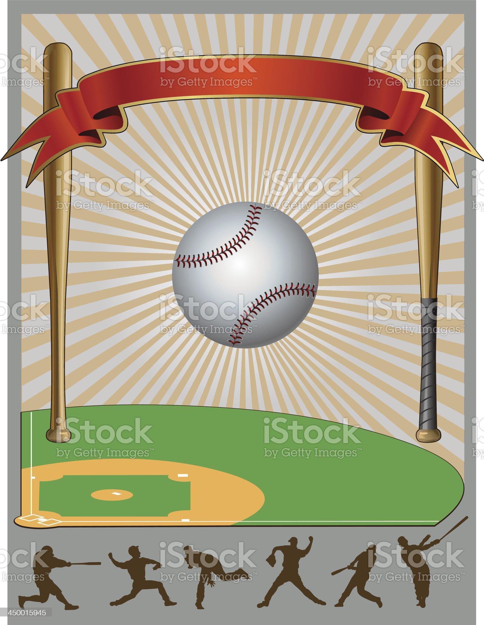 Baseball  Field Bat Ball royalty-free stock vector art