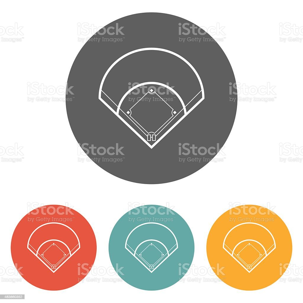 baseball field icon vector art illustration