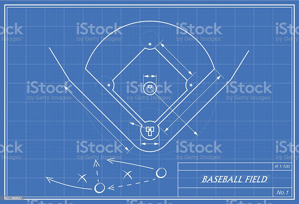 baseball field on blueprint vector art illustration