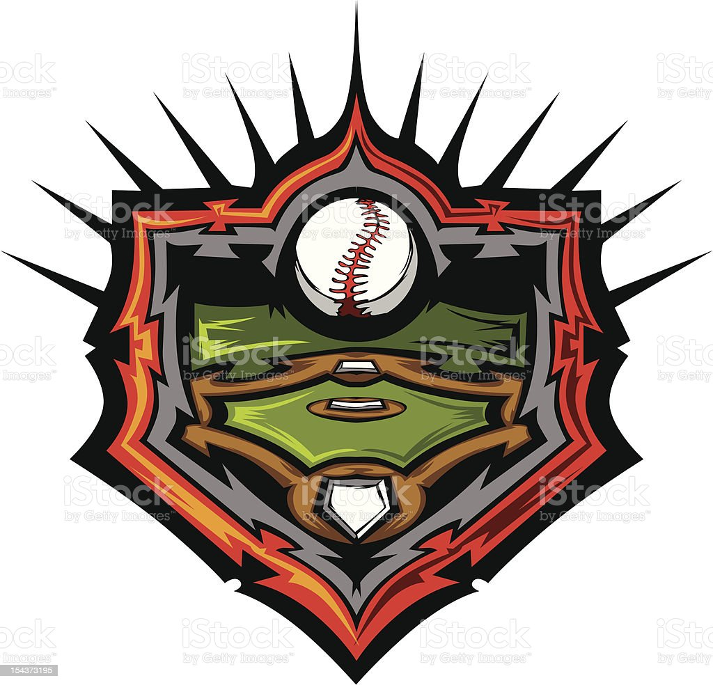 Baseball Field with Ball Vector Image Template royalty-free stock vector art