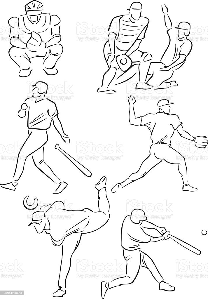 Baseball figures 1 vector art illustration
