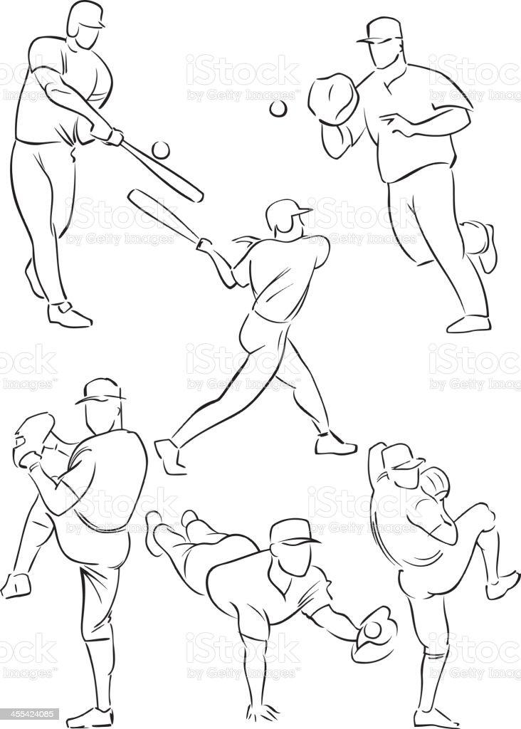 Baseball figures 2 royalty-free stock vector art