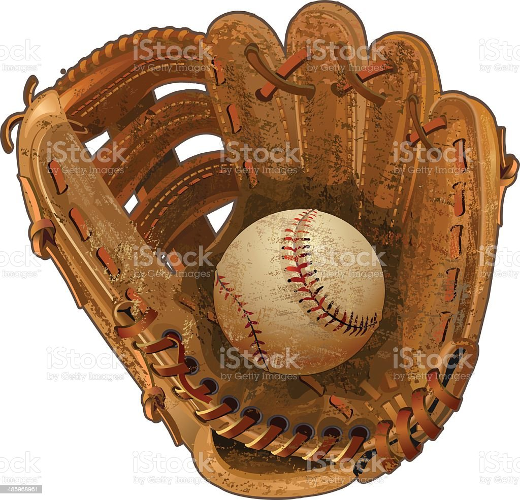 baseball glove vector art illustration