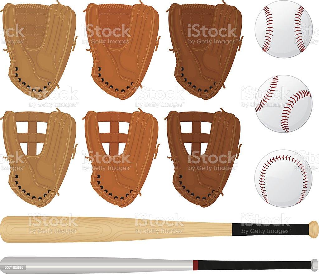 Baseball Gloves, Bats and Balls royalty-free stock vector art
