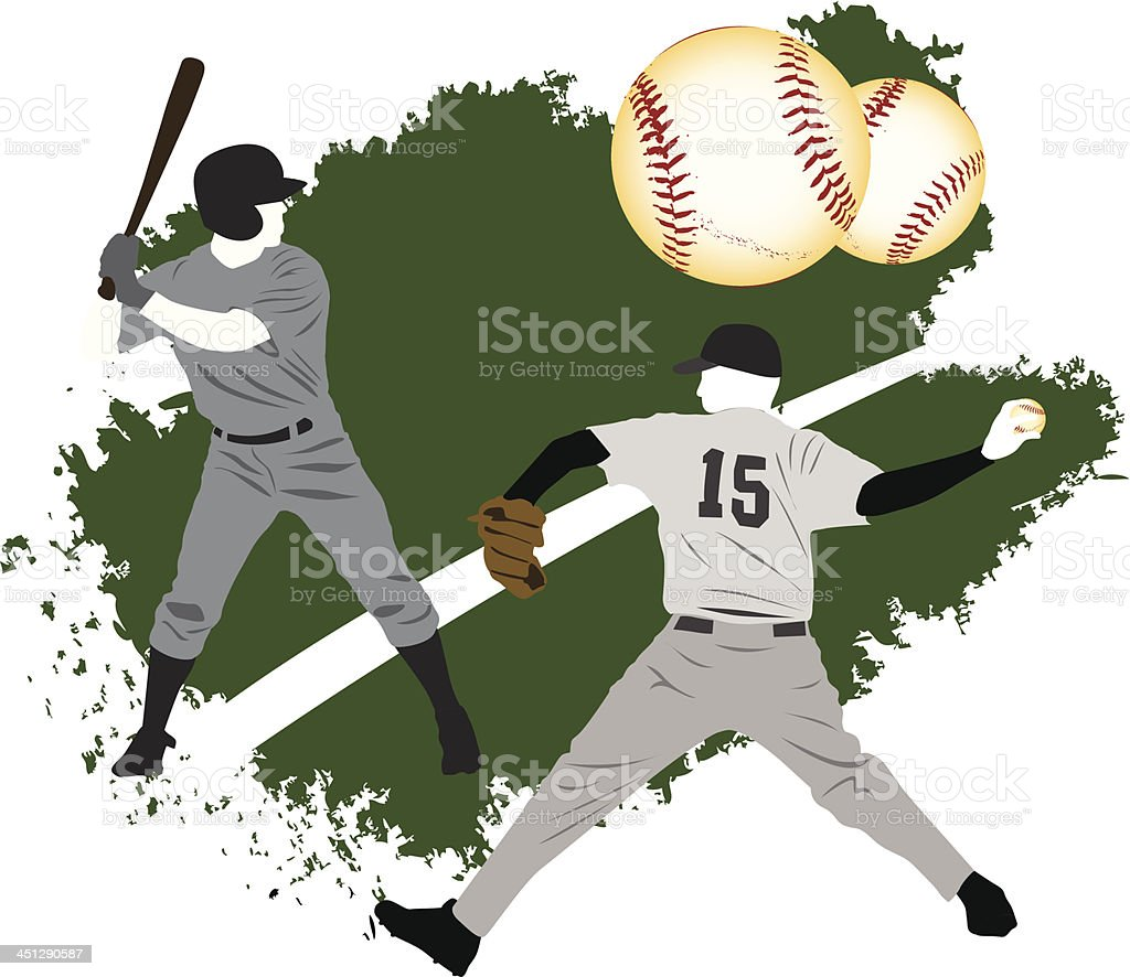 Baseball grunge players royalty-free stock vector art