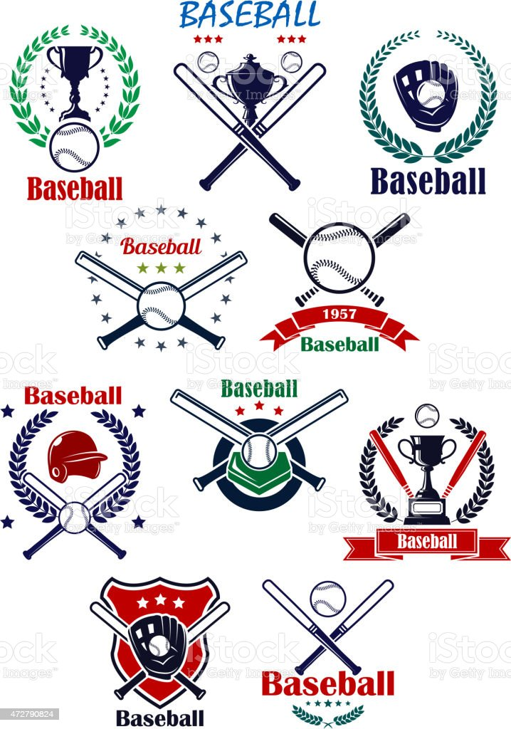 Baseball heraldic emblems or badges with equipments vector art illustration