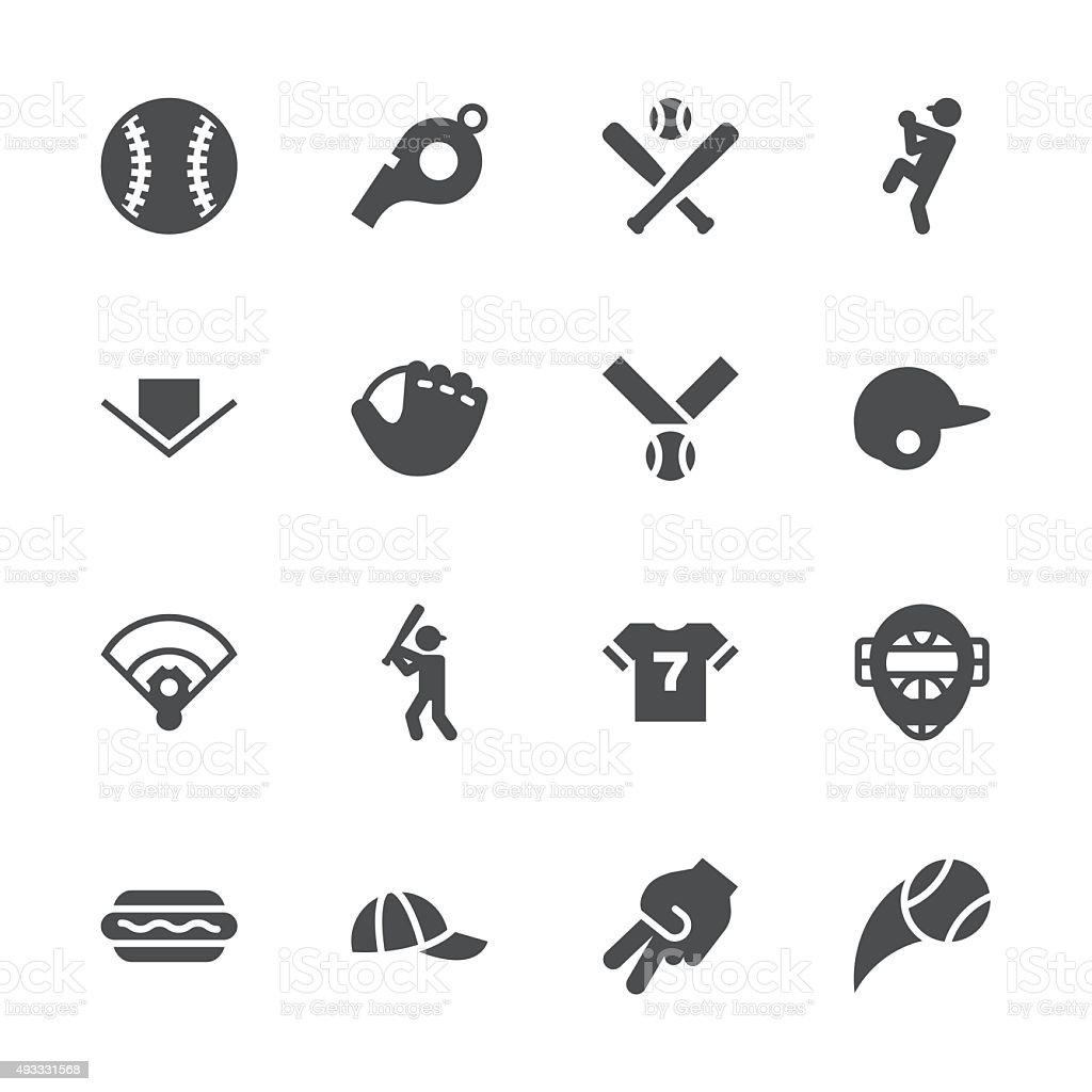 Baseball Icon - Gray Series vector art illustration