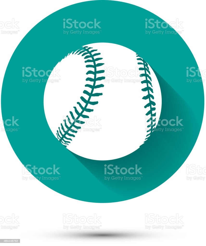 Baseball icon on green background with shadow vector art illustration
