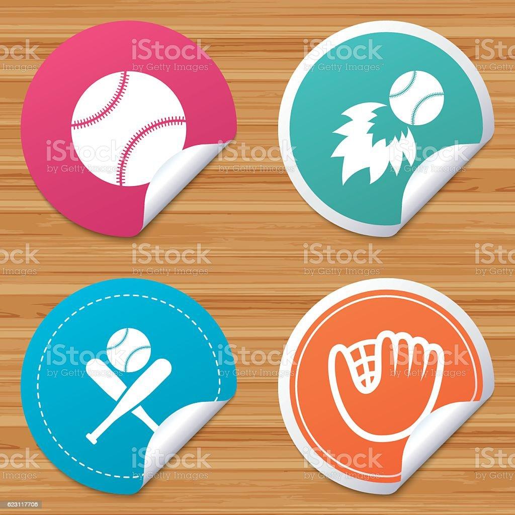 Baseball icons. Ball with glove and bat symbols. vector art illustration