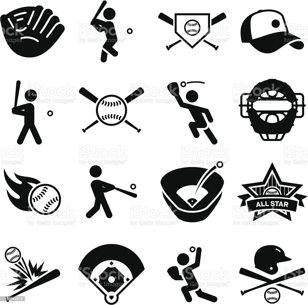 Baseball Icons - Black Series vector art illustration