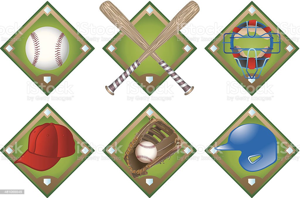 Baseball Icons C vector art illustration