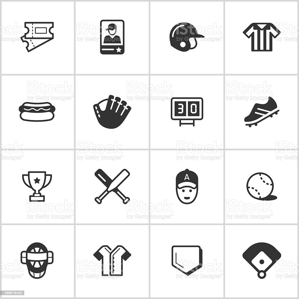 Baseball Icons — Inky Series vector art illustration
