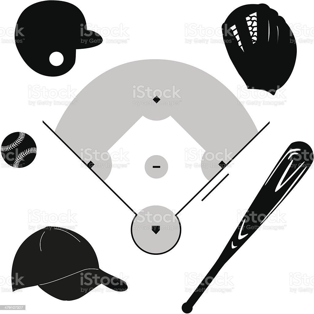 Baseball icons vector art illustration