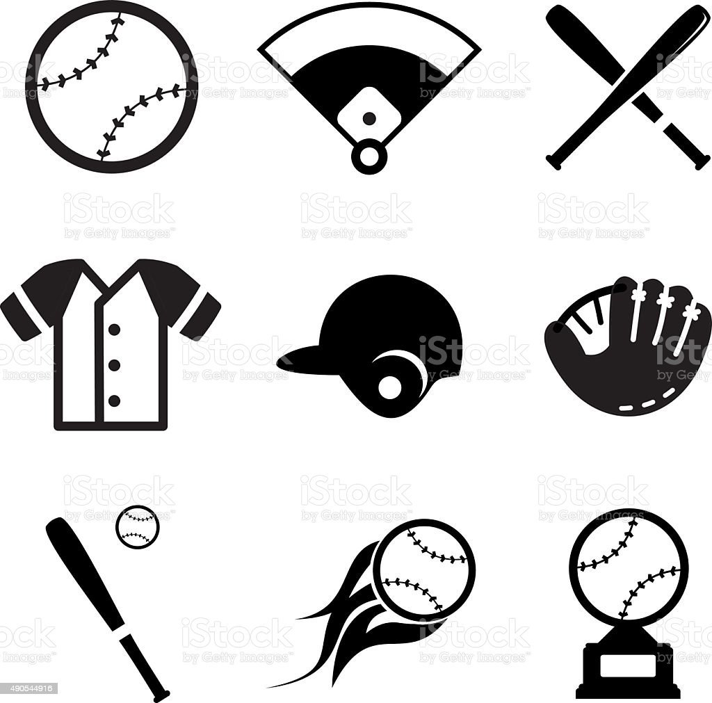 Baseball Icons vector art illustration
