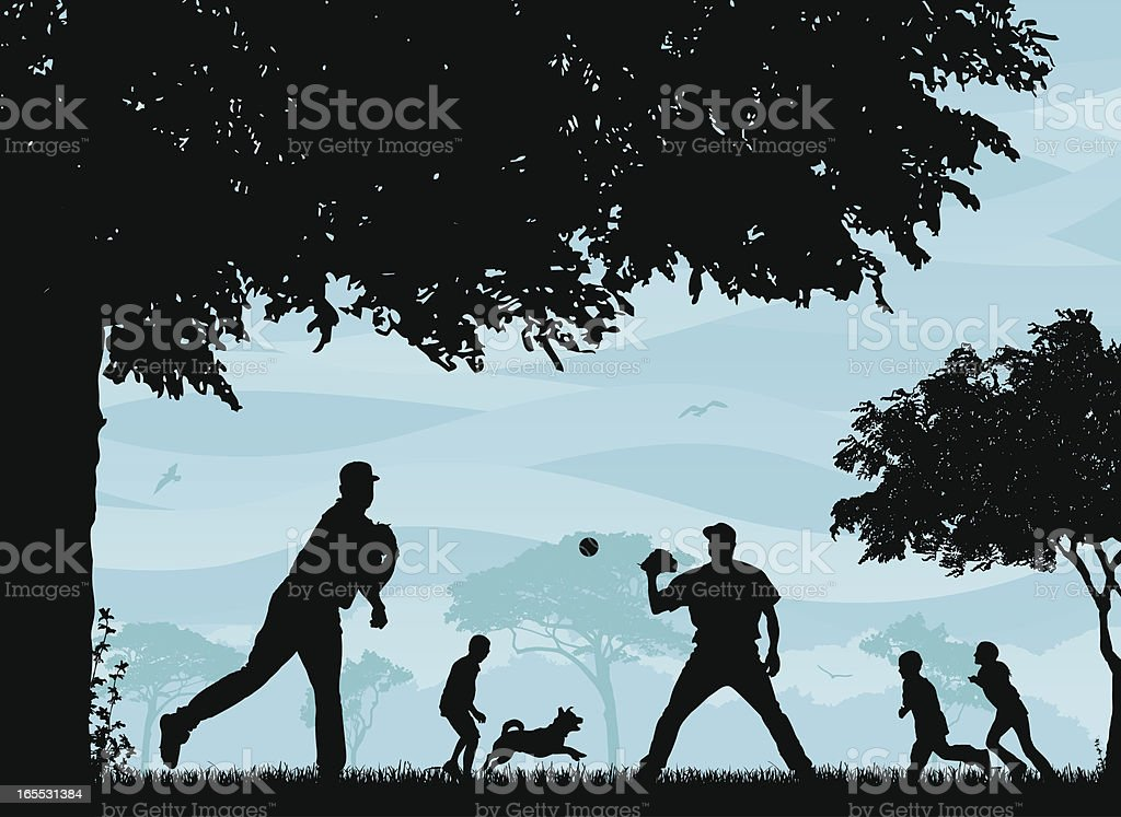 Baseball in the Park royalty-free stock vector art