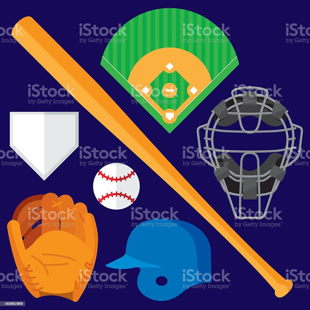 Baseball Items Flat vector art illustration