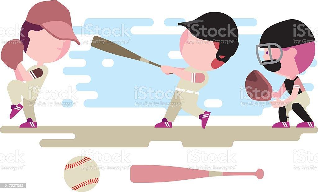 baseball kids character set vector art illustration