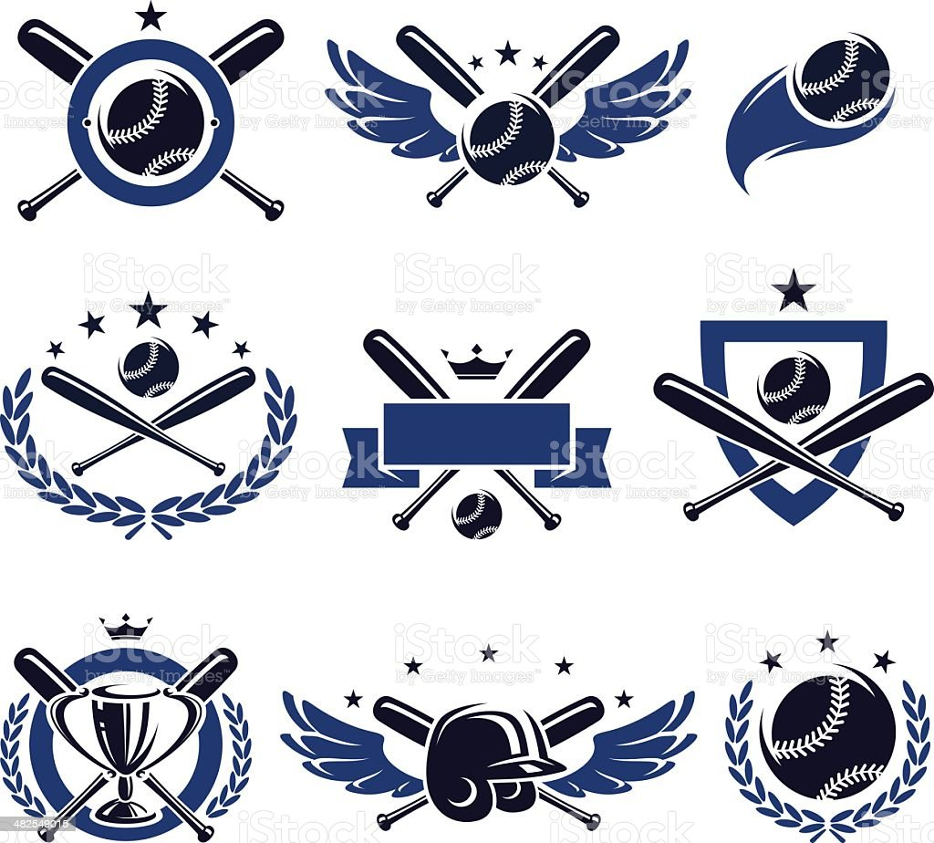 Baseball labels and icons set. Vector vector art illustration