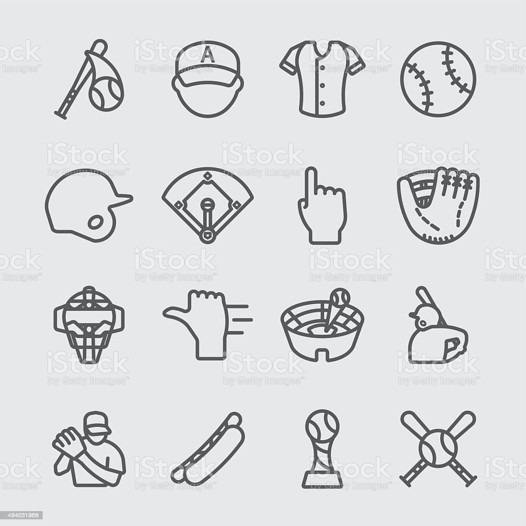 Baseball line icon vector art illustration