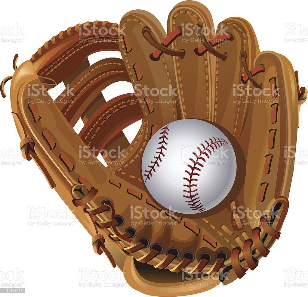 baseball mitt vector art illustration