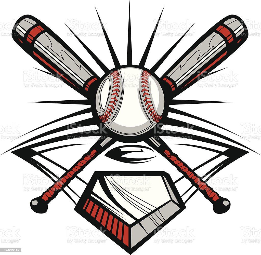 Baseball or Softball Crossed Bats with Ball Vector Image Template vector art illustration