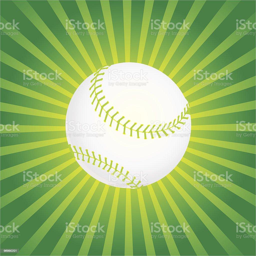 Baseball Over a Sunburst Background royalty-free stock vector art