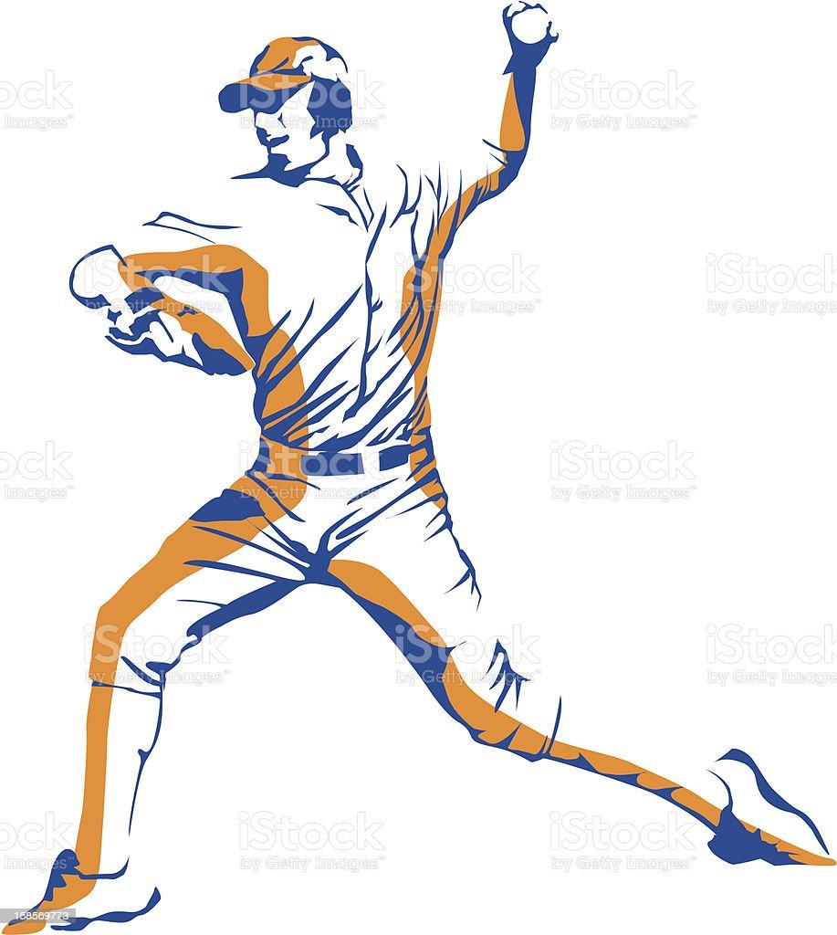Baseball Pitcher vector art illustration