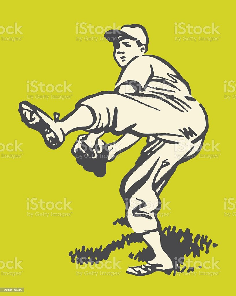 Baseball Pitcher vector art illustration