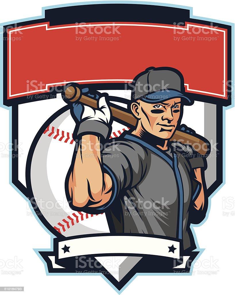Baseball player & bat vector art illustration