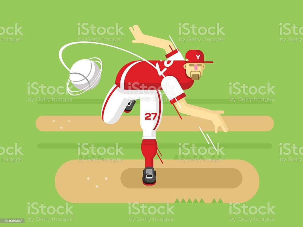 Baseball player cartoon character vector art illustration