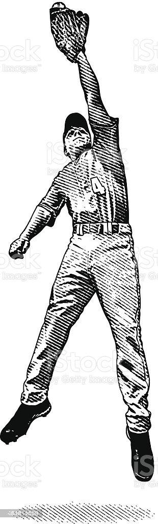 Baseball Player Catch vector art illustration