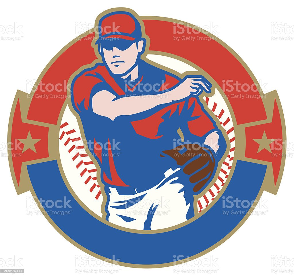 Baseball Player Crest vector art illustration