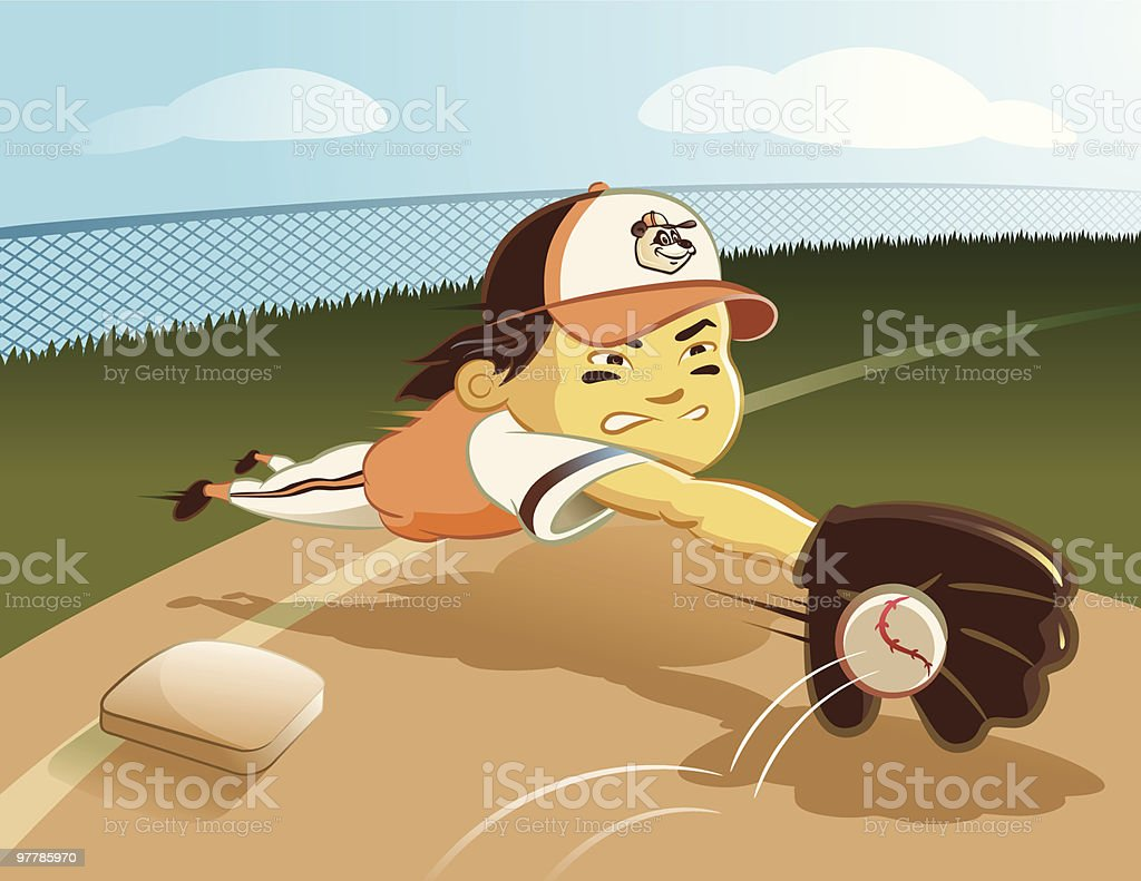 Baseball Player Diving For Ball Near Base vector art illustration