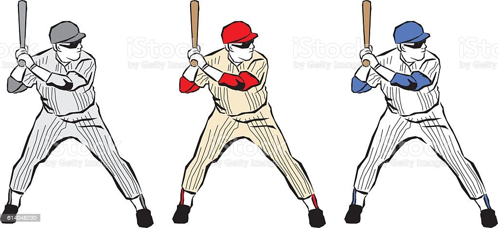 Baseball Player Icons vector art illustration