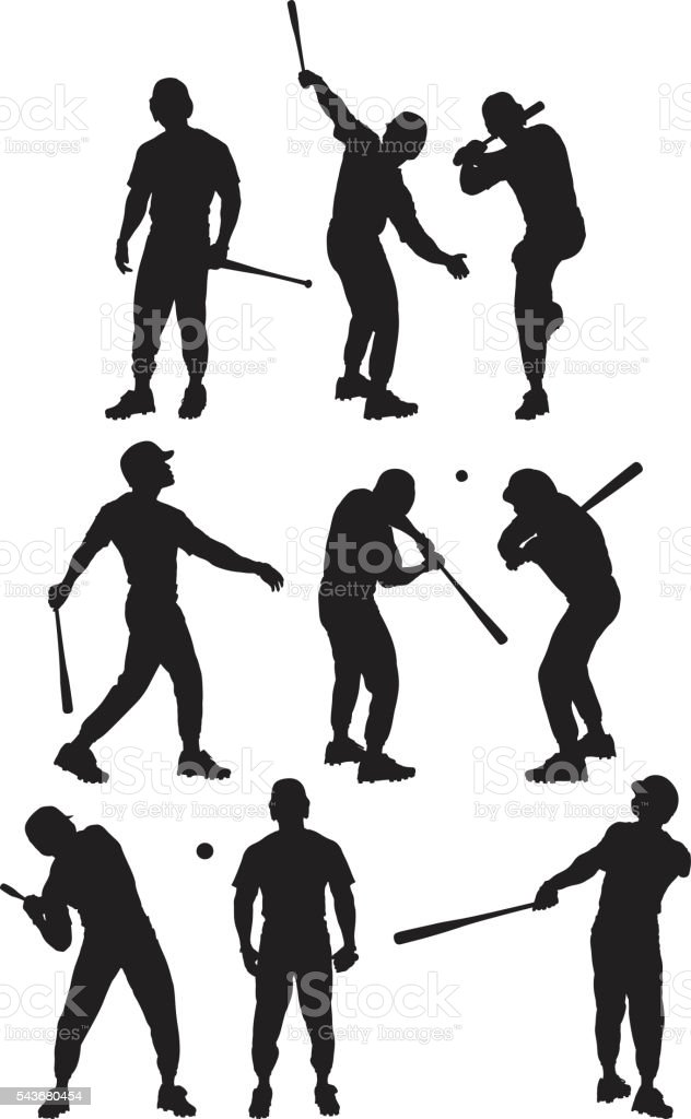 Baseball player in various actions vector art illustration