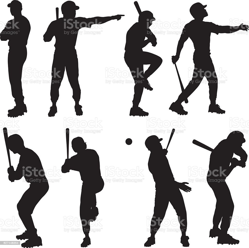 Baseball player in various actions vector art illustration
