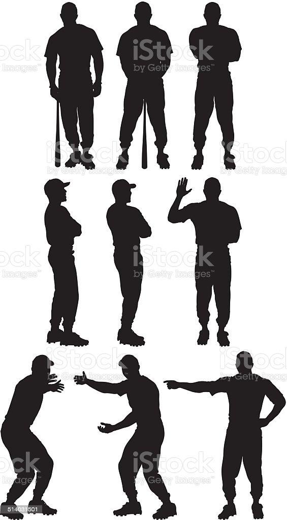Baseball player in various poses vector art illustration