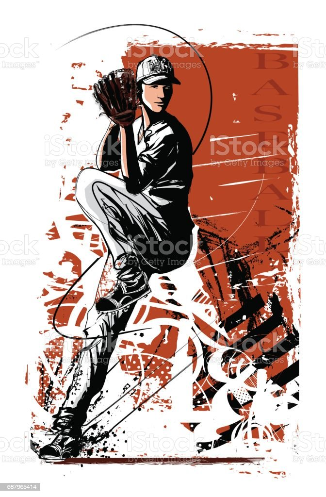Baseball player on one leg before pitch vector art illustration