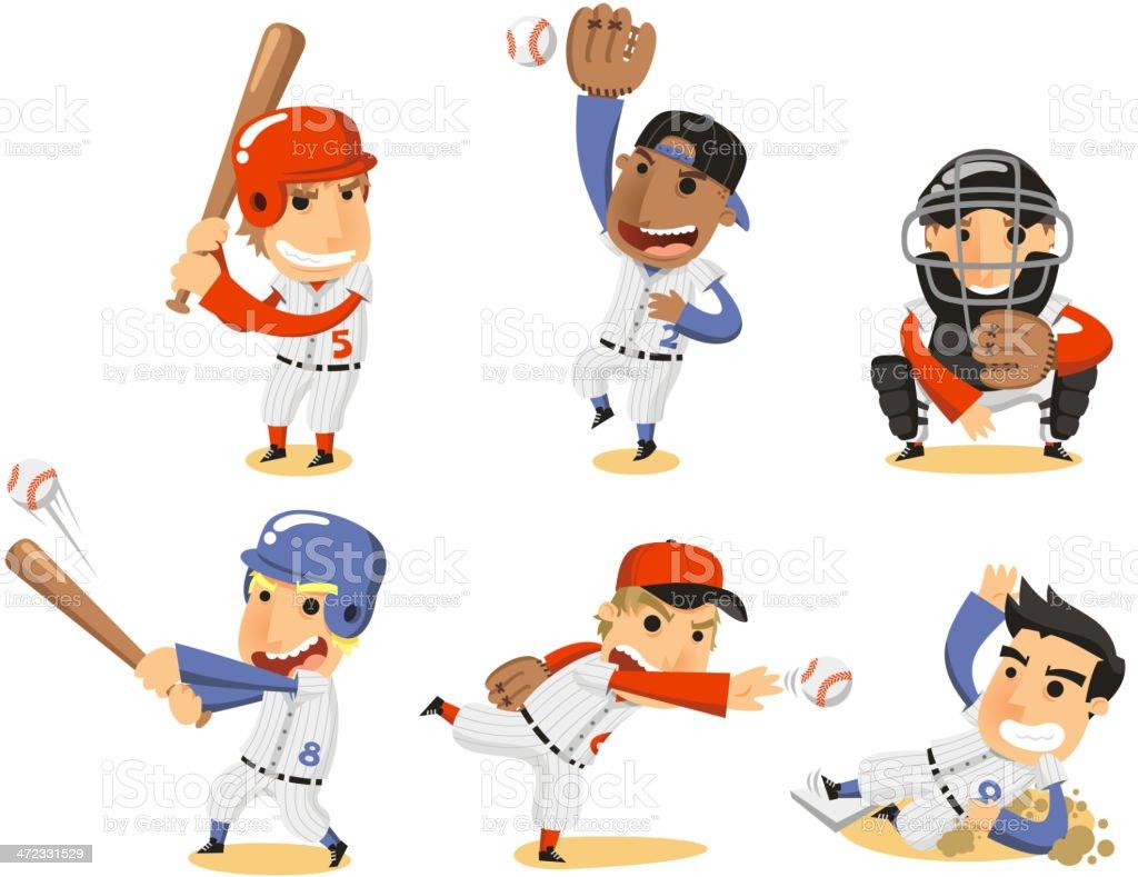 Baseball Player Set vector art illustration