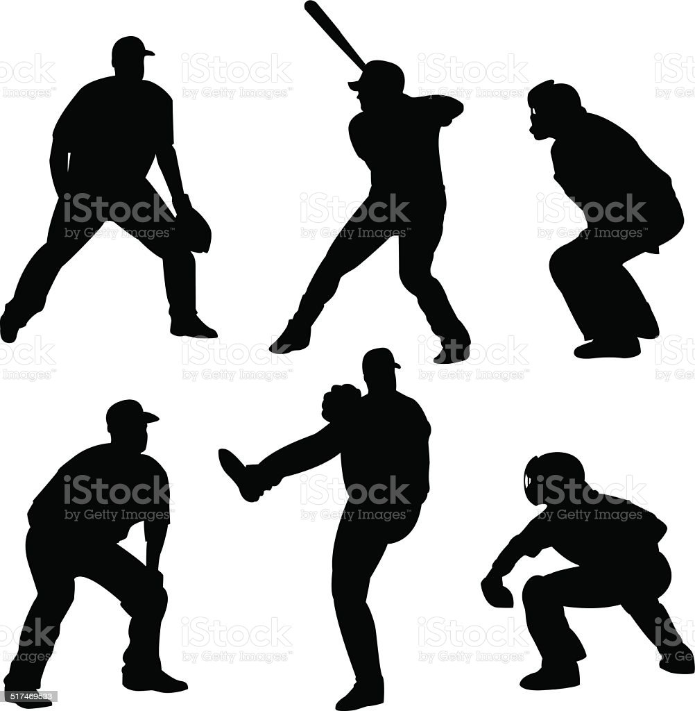 Baseball Player Silhouettes vector art illustration