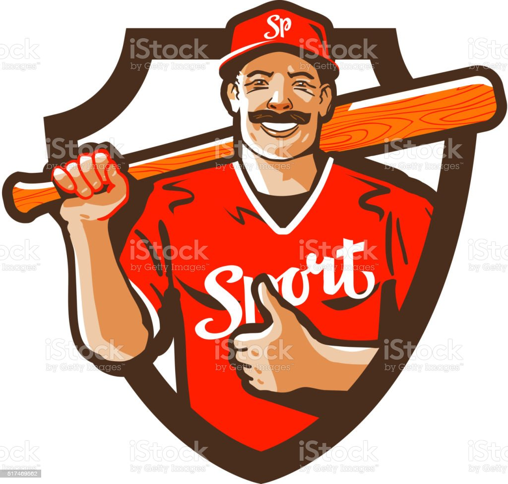 baseball player vector logo. championship, champion or sport icon vector art illustration