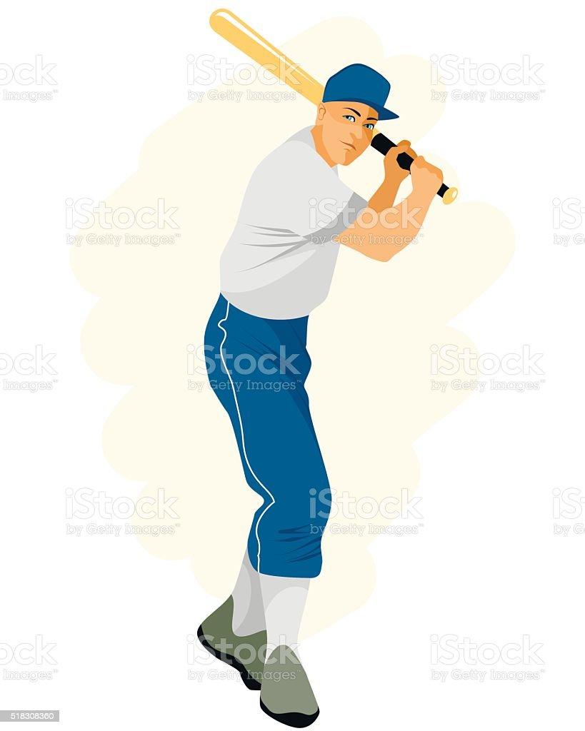 Baseball player with bat vector art illustration
